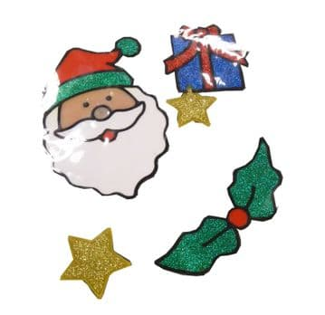 3 PACKS (12 stickers) CHRISTMAS MIXED WINDOW STICKERS santa present holly star